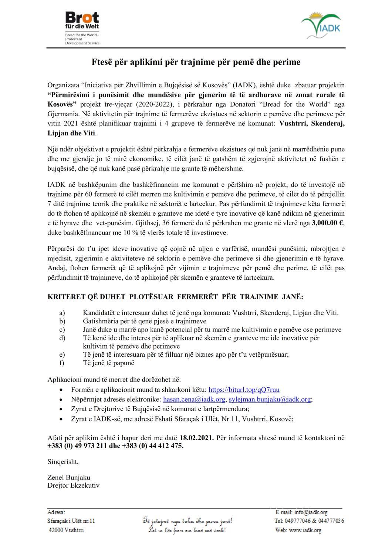 Ftesë për aplikimi për trajnime për pemë dhe perime