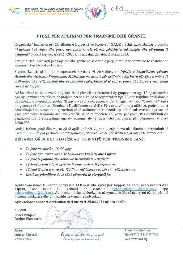 Ftesë për aplikimi për trajnime dhe grante në sektorin e përpunimit të ushqimit