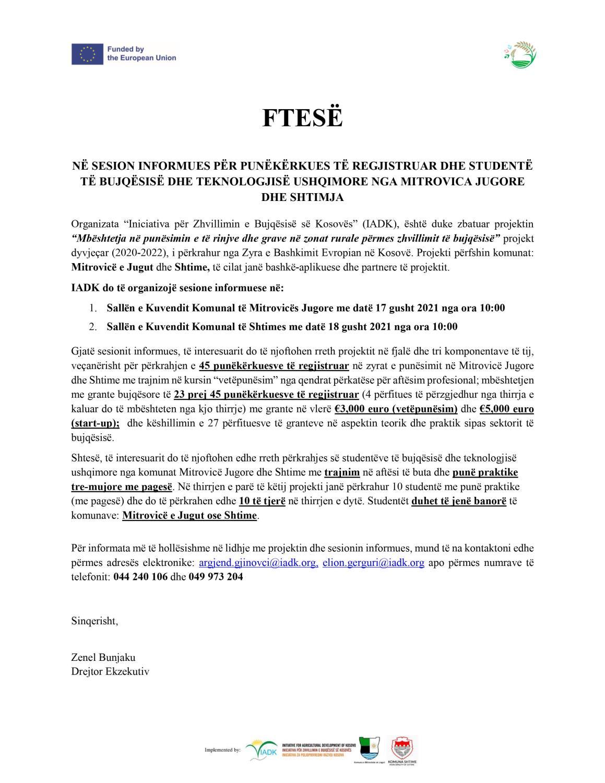 Ftesë për sesione informuese për punëkërkues të regjistruar dhe studentë të bujqësisë dhe teknologjisë ushqimore