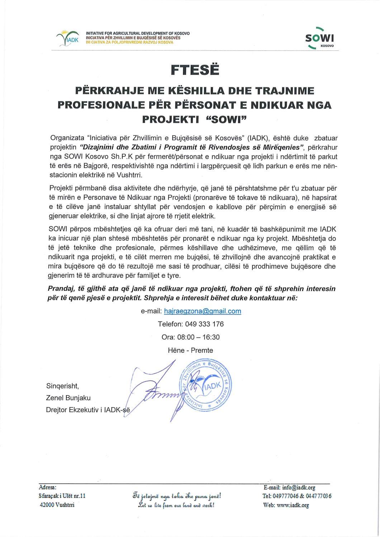 """Ftesë për përkrhaje me këshilla dhe trajnime profesionale për përsonat e ndikuar nga projekti  """"SOWI"""""""